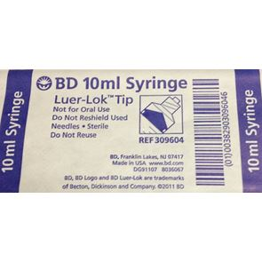 BD 10ml Luer Lok Syringe Single