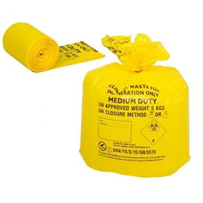 Yellow Clinical Waste Bags 50 in a pack